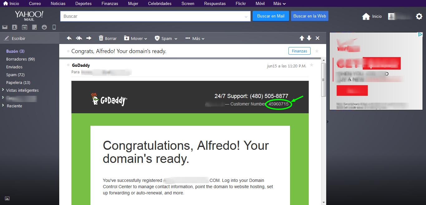 Captura de pantalla del email de GoDaddy