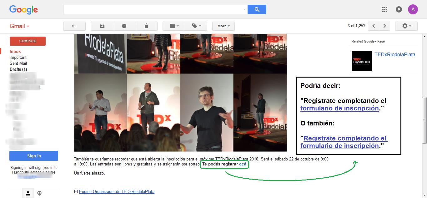 Captura de Pantalla del email de TEDx Río de la Plata
