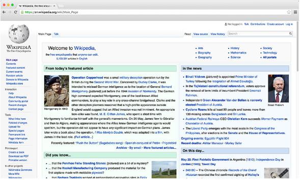 Captura de pantalla del sitio Wikipedia